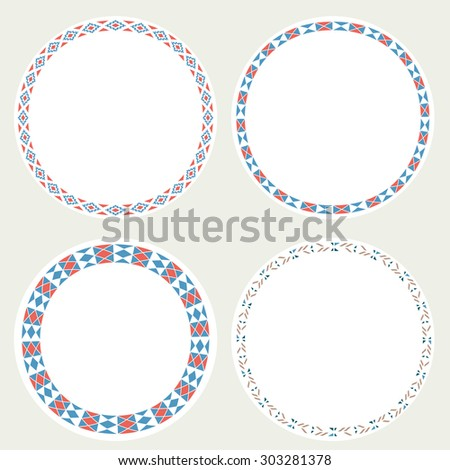 Set Tribal native ethnic aztec vector illustration. Decorative isolated elements, border, label for text.  - stock vector