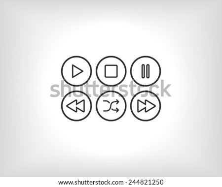 Set turquoise player - stock vector
