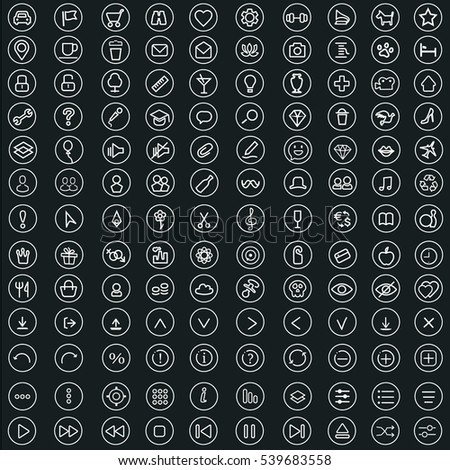 Set universal theme vector modern simple line icons point of interest for web design and mobile app. Round white vector contour objects on a dark background for using interface.