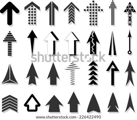 Set unusual arrows with shadow - stock vector