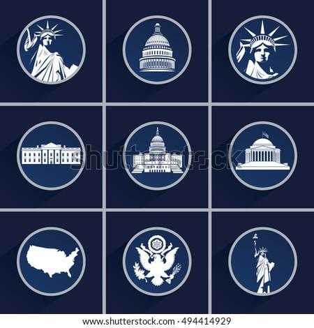 Set Us Symbols Icons Capitol Building Stock Vector 494414929