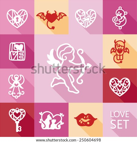 Set valentine's day objects, colorful love icon. Vector illustration. - stock vector