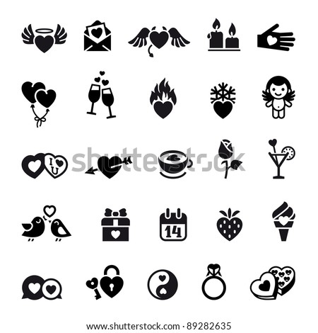 Set valentine's day objects, Love icon