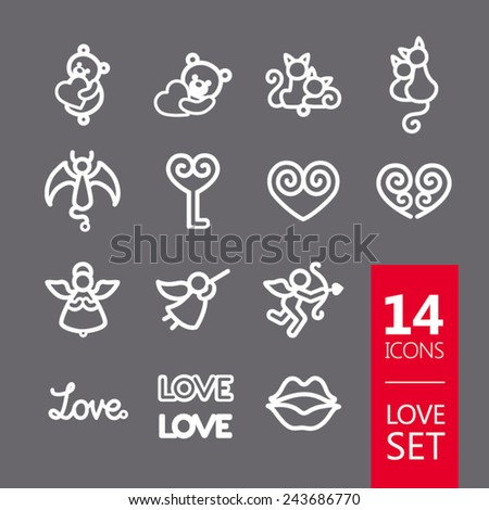 Set valentine's day objects, Love icon (teddy bear, cats, devil, angel, heart, key, cupid, love, lips) - stock vector