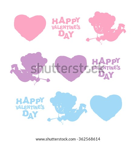 Set Valentines day. Heart, Cupid, and text. Cute Angel silhouette and bow and arrows.