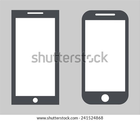 Set 2. Variety of modern black icon silhouette smartphone mobile tablet pc with blank screen isolated on white background. Vector illustration EPS 10 - stock vector