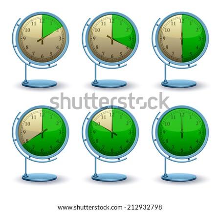 Set vector analog clock conceptual, Green sectors, 3D modern construction, Vector illustration Eps 10 - stock vector