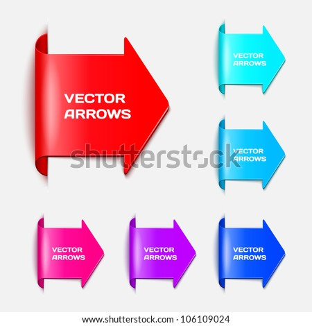 Set vector arrows in the form of paper stickers - stock vector