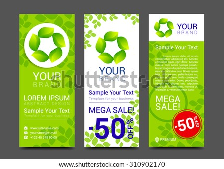 Set vector banners fresh green leaves Spring or summer nature. - stock vector
