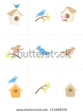 Set Vector birds and bird houses - stock vector