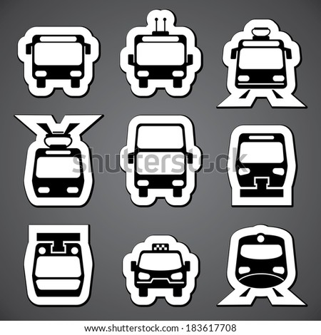 set vector black and white icons for public transport  - stock vector