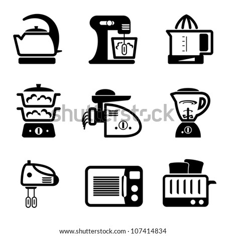 set vector black icons of kitchenware and kitchen tools - stock vector