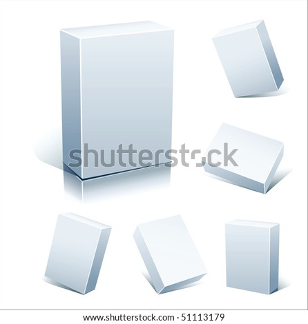 Set vector blank white boxes isolated on white - stock vector