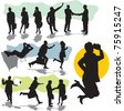 set vector business people silhouettes - stock vector