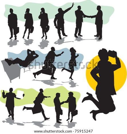 set vector business people silhouettes
