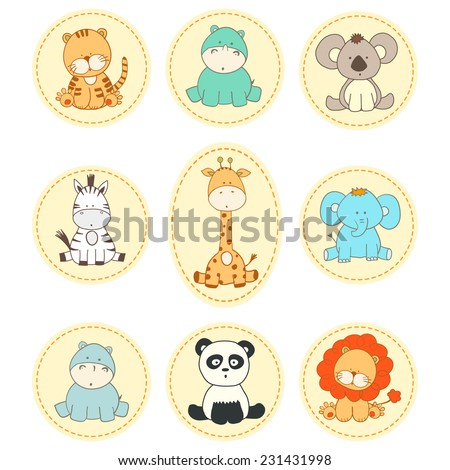 set vector cartoon fun animals in round badges - stock vector