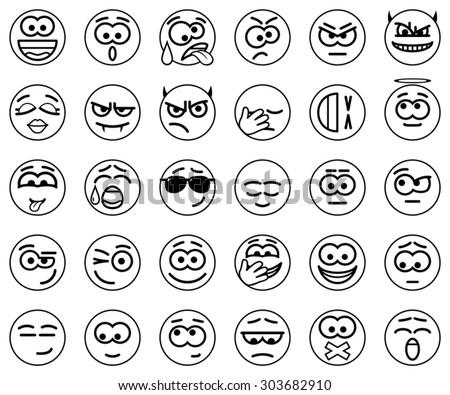 Set Vector Circle Smiles - stock vector