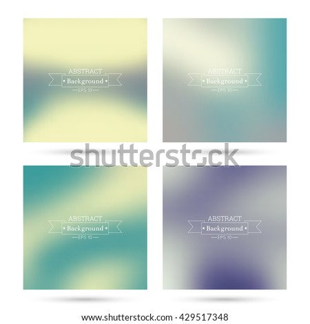 Set vector colorful abstract backgrounds blurred. For mobile app, book cover, booklet, poster, web sites, annual reports. blue, indigo, turquoise, yellow, green, purple, mauve, violet, magenta - stock vector