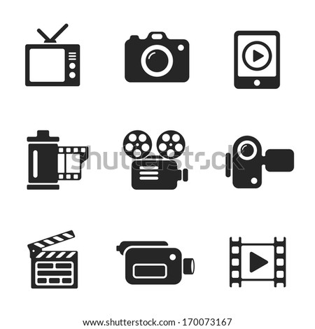 Set vector computer icons of photo and video. Vector