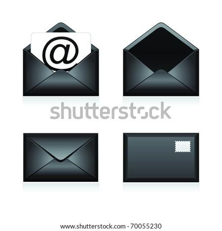 Set vector e mail black icon - stock vector
