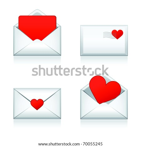 Set vector e-mail, envelop icons with heart .For Valentine Day. - stock vector