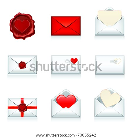 Set vector e-mail, envelop icons with heart wax press.For Valentine Day. - stock vector