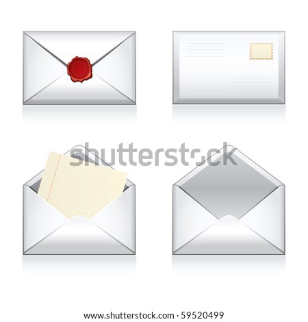 Set vector e-mail, envelop icons with wax press. - stock vector