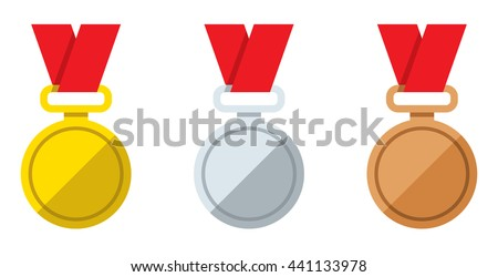 Set vector flat icons gold silver and bronze medal