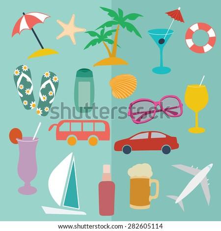set vector flat icons vacation, holiday, sea - stock vector