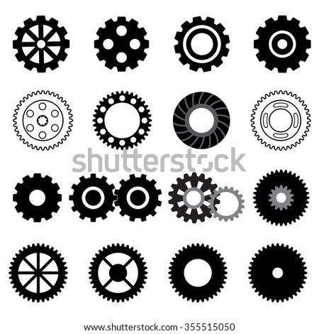 Set vector gearwheel mechanism icon. Black and white illustration mechanical elements isolated on light background.