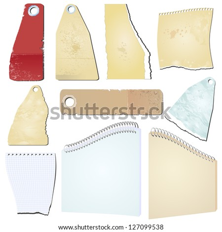 Set vector grunge notepad scrap memo paper - stock vector