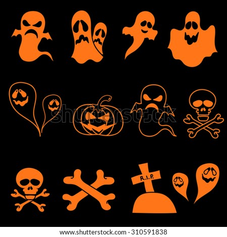 SET vector halloween design element on black background. All elements are saved also as a brush