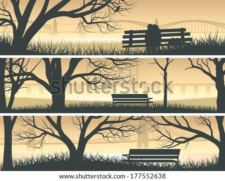 Set vector horizontal banners trees, meadow and bench overlooking the bay bridge at sunset. - stock vector