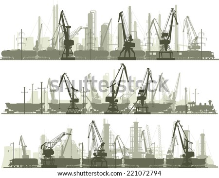Set vector horizontal lines of industrial part of city with cargo crane tower and trains. - stock vector