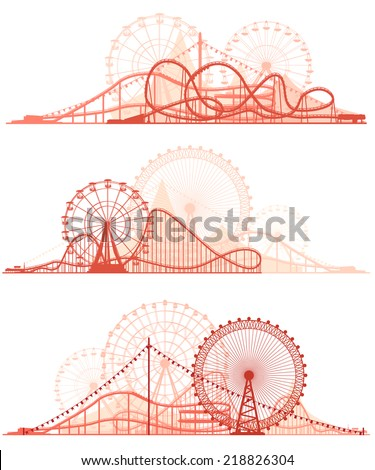 Set vector horizontal lines of red silhouettes roller-coaster and Ferris Wheel from amusement park. - stock vector