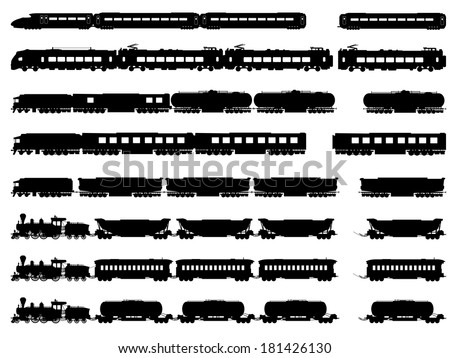 Set vector horizontal silhouettes of trains, locomotives with different wagons. - stock vector