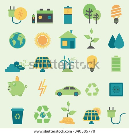 Set vector icons.Alternative Energy Sources - stock vector