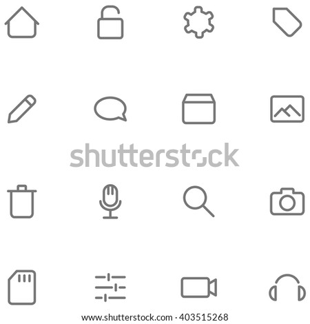 Set vector icons multimedia. Buttons for web or app interface design. - stock vector