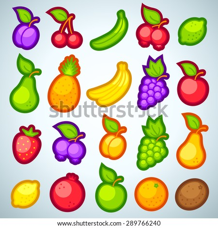 Set vector icons of a fresh fruits for game - stock vector