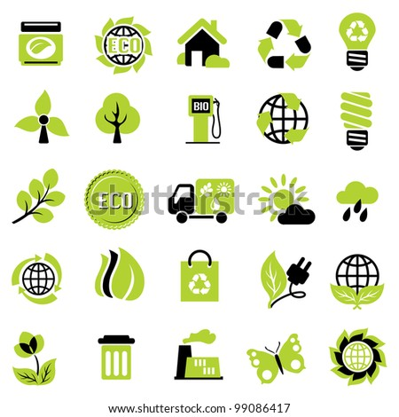 set vector icons of ecological signs and symbol
