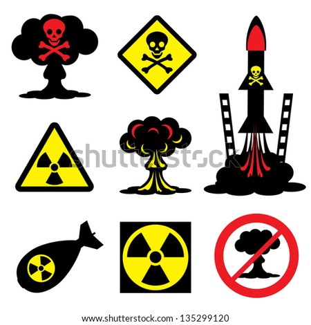 set vector icons of radiation hazard and nuclear weapons - stock vector