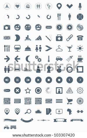 set vector icons, signs, symbols and pictograms. EPS10 - stock vector
