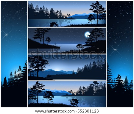 Set vector illustration nature night background header title website. Mountains lake landscape purple silhouette tree blue sky violet sunset sunrise river. Banner horizontal vertical slider menu image