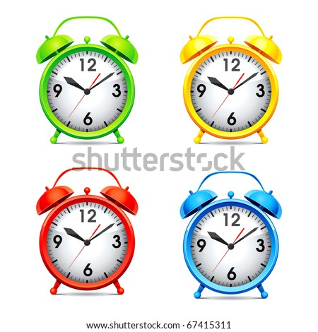 Set vector  illustration of a alarm clock. - stock vector