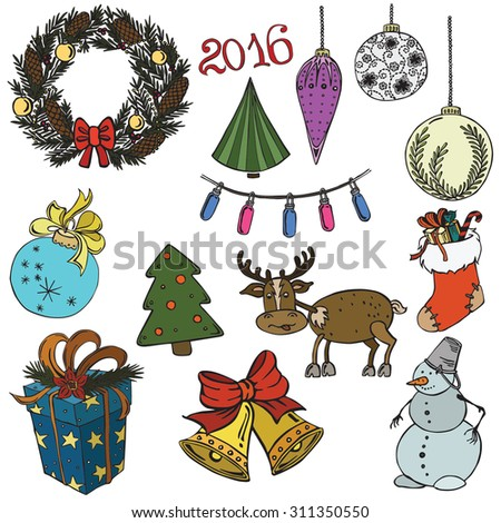 Set vector illustration of Christmas items