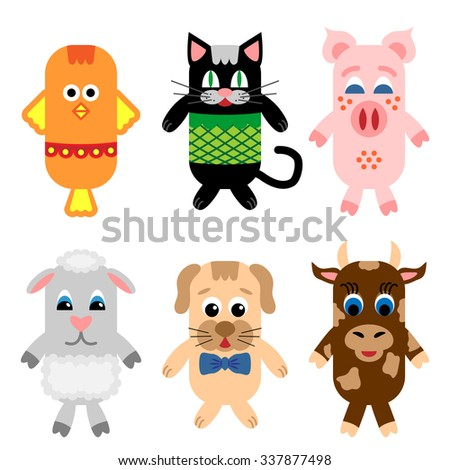 Set vector illustration of cute farm animals, including chicken, cat, pig, sheep, dog, and cow - stock vector