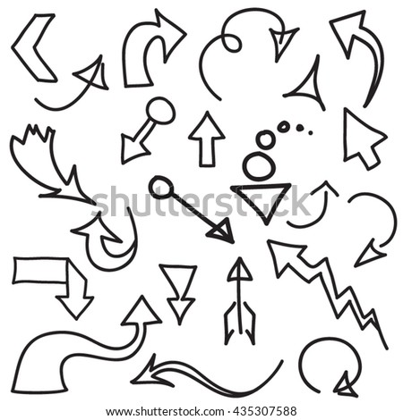 set vector illustration of doodle arrows on white background