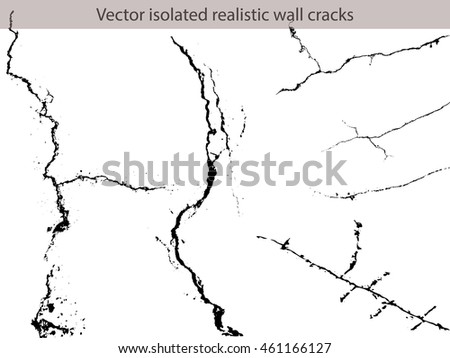 Set Vector isolated realistic wall cracks. Flat for instant color change.