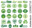 set vector labels and emblems of ecology and environment - stock vector