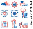 set vector labels and emblems of fish and seafood - stock vector